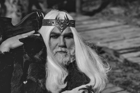 黒猫を肩に乗せた長い銀色の髪のひげを持つドルイド老人が、ぼやけた背景に毛皮のコートを着た