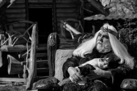 毛皮のコートで王冠を持つ長い灰色の髪のひげを持つドルイド老人は、2匹の猫を保持し、ログハウスの背景に木製の椅子に座っています