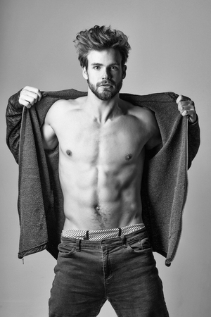 Handsome man or macho, bearded hipster with beard and blond hair shows muscular torso, body, with six packs and abs on grey background
