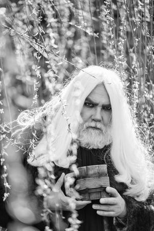 長い灰色の髪とひげを持つドルイド老人は、自然の背景に黄色の花の咲く晴れた日に手に木製のマグカップで深刻な顔に