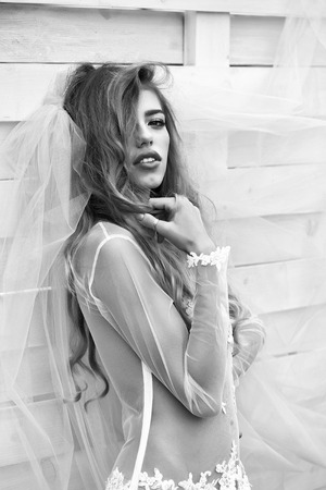 young sexy woman with long blonde hair and pretty face in wedding white dress and bride blue veil on wooden background Stok Fotoğraf