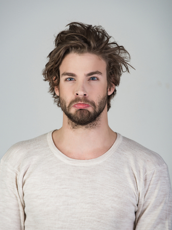 Insomnia, energy, single with uncombed hair. Man with disheveled hair in underwear. Stock Photo