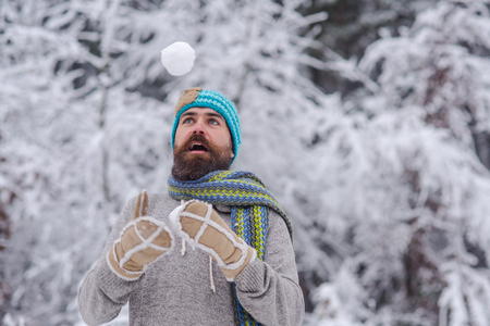Bearded hipster play with snowball in snowy forest. Temperature, freezing, cold snap. Man in thermal jacket, hat, scarf, beard warm in winter. Skincare, beard care in winter. Sport, rest, activity. Stock Photo