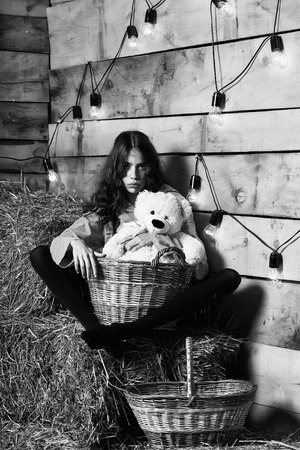 Pretty girl teenager young woman cookee helper in apron sits on straw bales with wicker basket and teddy bear toy on rustic background Imagens