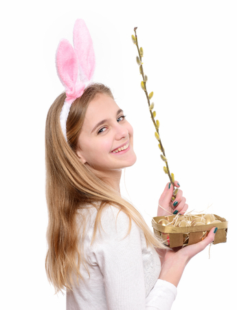 Palm sunday, spring. Awakening of new life. Woman smile with willow branch and easter eggs. Happy easter concept. Holiday celebration, preparation.