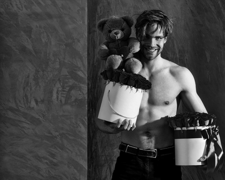 bearded macho happy man, brutal caucasian hipster with moustache with muscular torso, chest and body, holds red pink rose flowers in box as present and teddy bear toy on golden background, copy space Banco de Imagens