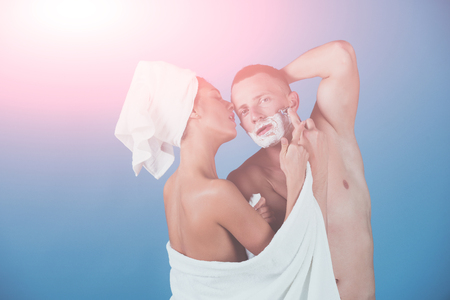 morning grooming of sexy couple. morning of woman and man trimming, couple in love. Stock fotó