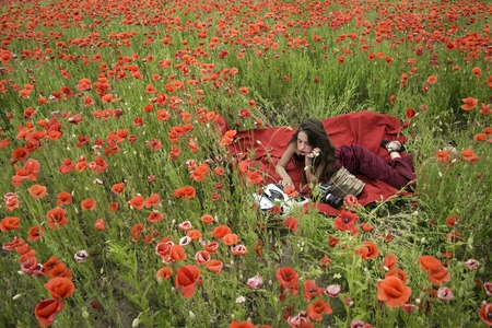 Drug, narcotics, opium, woman with typewriter, camera, book. Opium poppy, agile business, ecology. Poppy, Remembrance or Anzac Day. Woman writer in poppy flower field. Journalism and writing, summer. Reklamní fotografie
