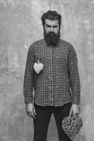 Bearded serious man, caucasian hipster, with long beard and moustache in plaid shirt with two hearts, wicker and rosy textile, love gifts for valentines day, on beige grunge wall background 版權商用圖片 - 96488049