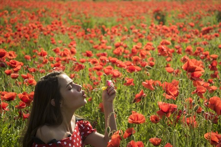 Opium poppy, youth, freshness, ecology, woman. Summer, spring, poppy flower. Drug, opium, narcotics, carelessness. Poppy, Remembrance day, Anzac Day. Woman blow bubble in poppy field, dreams, wishes.