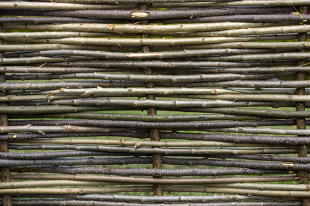 Natural tree trunk texture. Fence of wooden twigs. Garden decor, barrier, border, boundary. Spring, summer season
