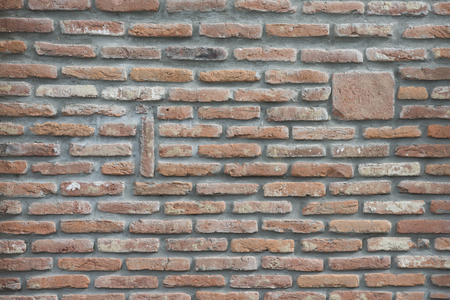 Red brick wall texture background. Decor, design, style. Masonry, stonewall, brickwork. Building, construction, material.