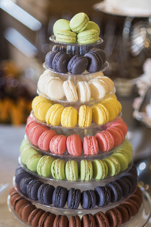 French cuisine, menu, recipes. Macaroons on cake stand. Dessert, food, snack. Macaroon cookies for birthday, anniversary, mothers day celebration. 写真素材