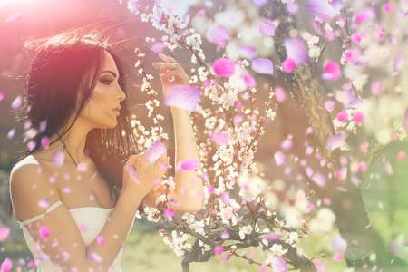 gorgeous girl. beautiful girl. Spring flowers