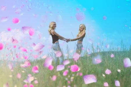 Lesbian couple. Cute lesbian couple having fun in spring day.