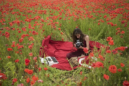 Poppy, Remembrance or Anzac Day. Drug, narcotics, opium, woman with typewriter, camera, book. Woman writer in poppy flower field. Opium poppy, agile business, ecology. Journalism and writing, summer. Reklamní fotografie