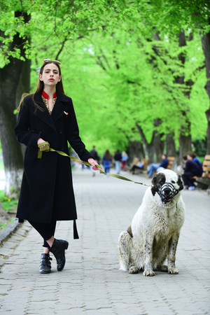 Gir walk dog in spring park. Woman owner with pet outdoor. Love, care, trust. Pet, companion, friends, friendship. Protection, alertness, bravery. alabai Stock Photo
