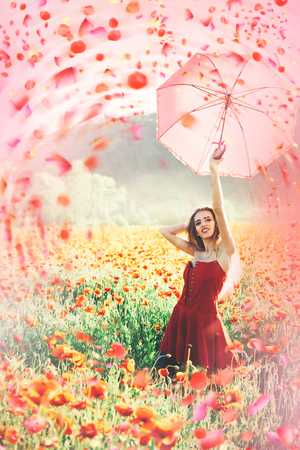 Woman in sunny spring day. Sunny spring day. Stock Photo