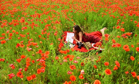 Opium poppy, agile business, ecology. opium poppy flower field with woman writer Reklamní fotografie