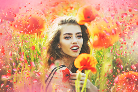 Girl in poppy meadow. Blooming poppy.