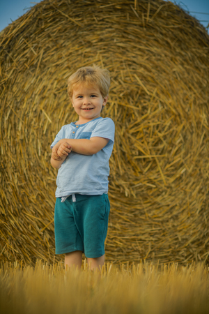 Adorable young toddler boy standing by haystacks at farm. Stock Photo