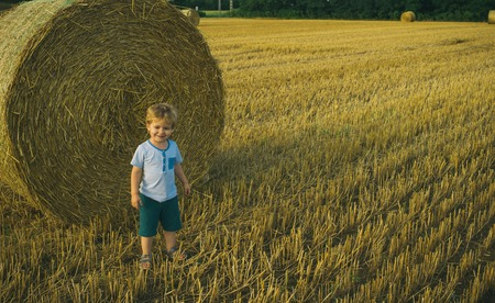 Cute little kid boy in wheat field. Child with hay bale. Preschool boy play at hay bales during summer harvest time. 스톡 콘텐츠