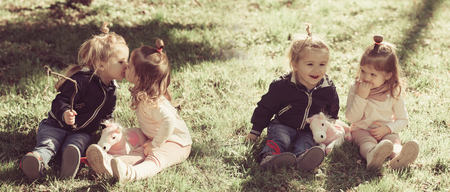 Family, love, trust collage concept. Brother and sister kiss on sunny day. Boy and girl smile on green grass.