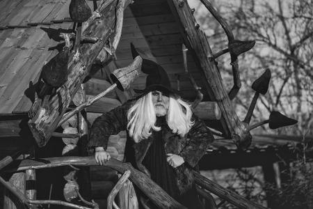 黒いハロウィーンの帽子に長い銀色の髪とひげを持つ古いドルイドの男は、ログハウスの背景に晴れた日に屋外に立っています 写真素材