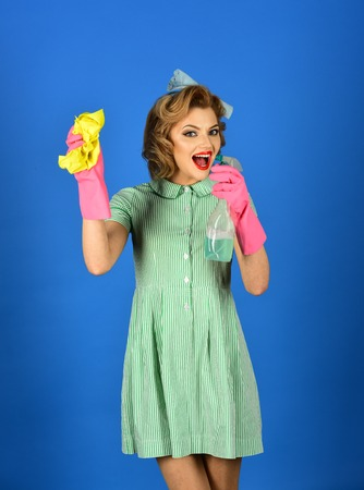 Cleaning, retro style, purity. cleaning services, happy woman cleaner 스톡 콘텐츠