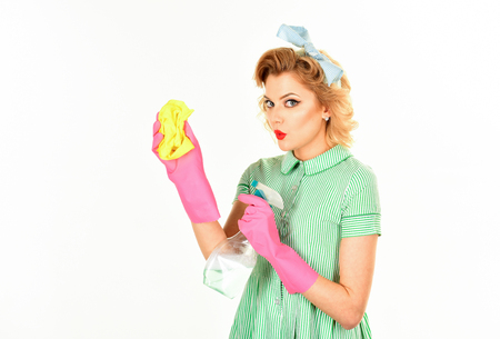 gender equality, gender inequality, retro woman housewife cleaning. gender equality, gender inequality, sexy woman cleaner Stock Photo