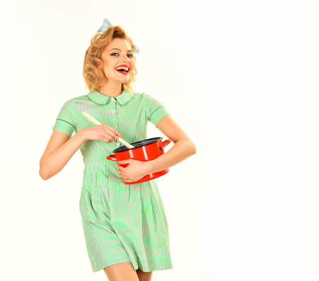 Retro woman cooking, gender inequality. retro style of woman hold kitchen utensil