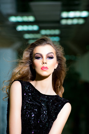 Makeup model with long hair, hairstyle, beauty. Makeup, make up, beauty, look, visage. Stockfoto