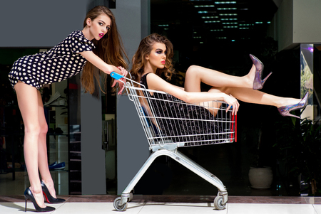 Girls inside supermarket cart, trolley, shopping concept
