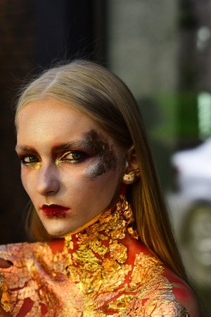 Halloween makeup, visage. Halloween party, holidays celebration, preparation. Stock Photo