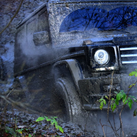 SUV or powerful offroad car rides with obstacles in forest area.