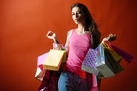 Woman shopper with shopping bags, purchase. Woman shopaholic with paper bags, sale. Stok Fotoğraf