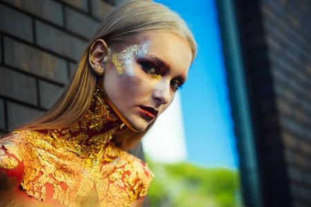 Makeup model face for Halloween. Makeup, beauty, visage.