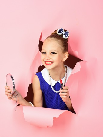 Fashion and beauty, pinup style, childhood. Retro girl, fashion, cosmetics, beauty.