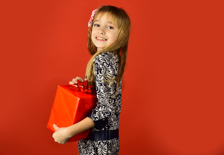 Childhood and happiness, gift box. childhood, happy birthday girl, copy space Stock Photo
