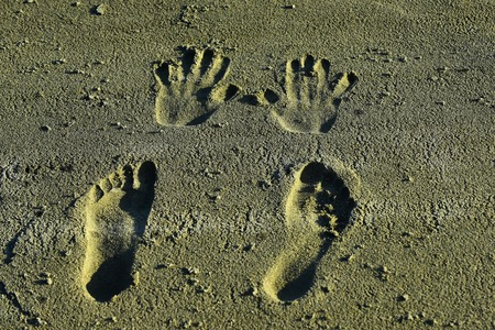 Human imprints, prints, tracks on sandy surface. Handprints and footprints on sand. Palms, fingers, feet, toes marks. Vacation, travel, wanderlust. Stockfoto