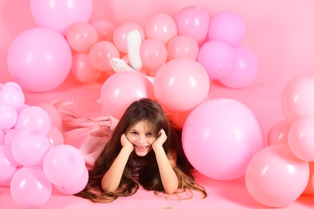 Beauty and fashion, punchy pastels. beauty and fashion, small girl in pink balloons