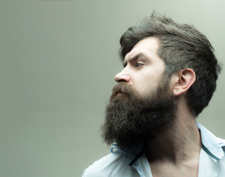 Barbershop or hairdresser concept. Macho on strict face, wears unbuttoned shirt. Man with beard, mustache and stylish hair, light background. Guy with modern hairstyle visited hairdresser, side view.