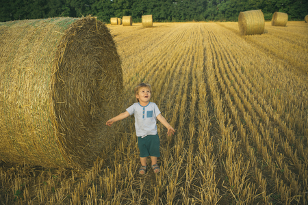 Happy child on field with bales harvest in autumn. 스톡 콘텐츠