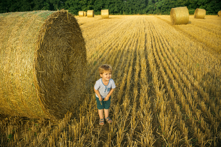 Happy child in field. Summer mood. Boy at stack of hay.