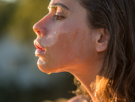 Beauty and fashion, sugaring. beauty treatment and skincare of young woman in profile