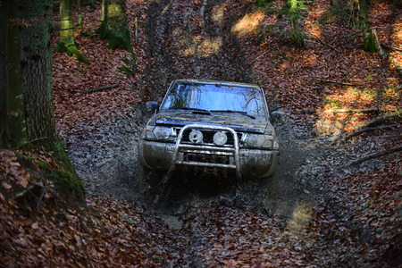Dirty offroad car with fall forest on background on sunny autumn day. SUV covered with mud stuck in dirt on path covered with fallen leaves. Extreme entertainment concept.