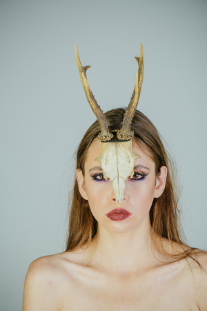 halloween mythical woman with antlers mysterious woman female shaman woman from a fairy tale with horns witch