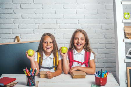 Back to school and home schooling. Friendship of small sisters in classroom at knowledge day. Little girls eat apple at lunch break. School time of girls. Happy school kids at lesson in september 1.