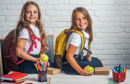 School time of girls. Friendship of small sisters in classroom at knowledge day. Back to school and home schooling. Little girls eat apple at lunch break. Happy school kids at lesson in september 1.