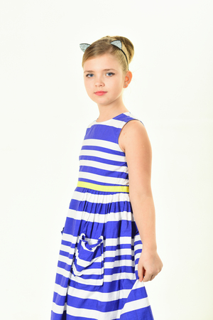 beauty and fashion in pinup style, childhood. beauty and hair salon Stock Photo